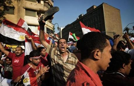 Egyptian opposition protesters celebrated after Egypt's military gave Morsi 48 hours to meet the demands of the people.