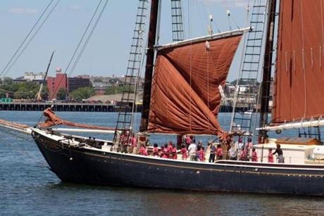 Students raised the sails of the Roseway, an 88- year-old schooner. This summer, the crew will teach high-risk middle school students from Revere, and disabled students from Boston.