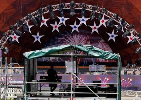 A sound technician on Sunday helped prepare for the Fourth of July celebration to be held along the Esplanade.