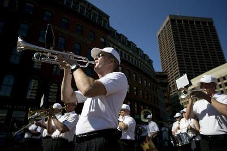 Bob Bean played the trumpet with the band conducted by Frank Zarba during the Independence Day celebration at Boston City Hall Plaza.