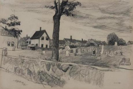 "Edward Hopper's ""Cemetery in Gloucester"", a conte crayon drawing on paper from the Cape Ann Museum's collection."