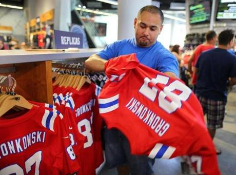 Luis Hernandez of Somerville tried on a Rob Gronkowski jersey.