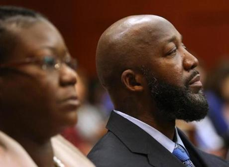 The parents of Trayvon Martin, Sybrina Fulton (left) and Tracy Martin, listened to testimony in Seminole Circuit Court on Monday.