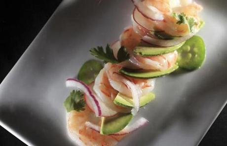 Gulf shrimp ceviche  with lemon, lime, red onions, avocado and jalapeño.