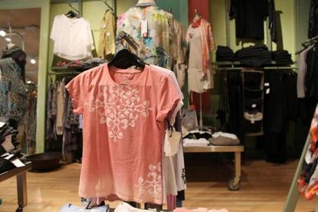 Maxwell & Co. on Main Street in Falmouth is the exclusive dealer for this $115 hand-dyed T-shirt made by Ann McGuire.