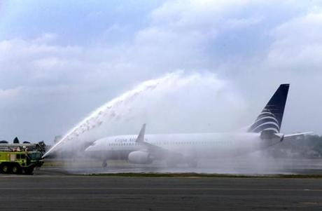 The inaugural Copa Airlines Flight 718 from Panama City, Panama, was welcomed to Boston Logan International Airport with a traditional water canon salute this past July.