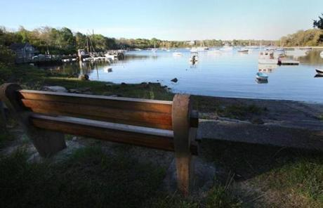 Quissett, MA 5/26/08 Benches overlooking Quissett Harbor in the early morning. (Bill Greene/ Globe Staff) section:travel, reporter:Shorr, slug: 01list / OUTTAKe 0810
