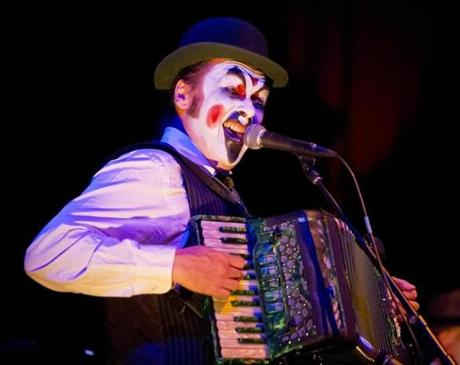 Martyn Jaques, lead singer with the Tiger Lillies, performed at the Oberon.