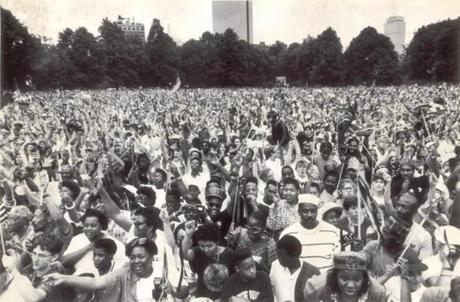 June 23 1990 / fromthearchive / Globe Staff photo by Barry Chin / The crowd of an estimated 250,000 people at the Hatch Shell sang the national anthem of the African National Congress, the leading antiapartheid group in South Africa.