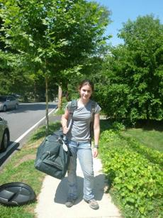 Emma Pierce-Hoffman with her duffel.