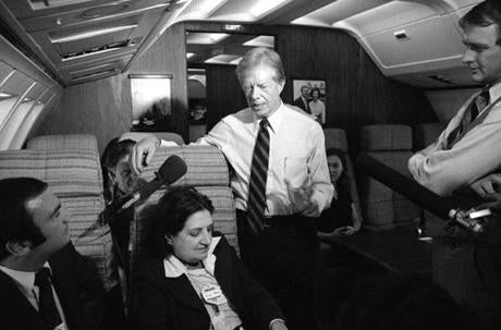 Helen Thomas interviewed President Carter aboard Air Force One in October 1979.