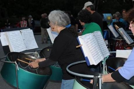 Flash in the Pans is a community steel band that usually performs on Monday nights.