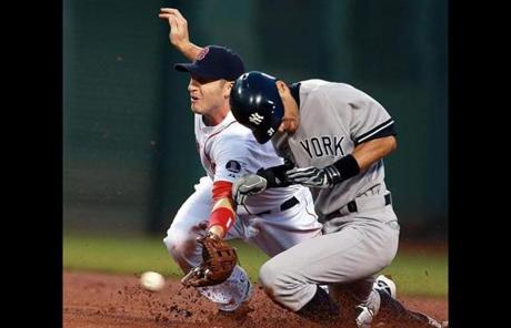 The Yankees' Ichiro Suzuki stole second base in the first inning as Brett Gardner (not pictured) scored on the play.