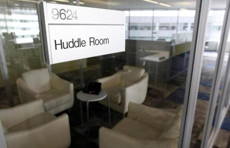 Featured in the new Biogen Idec buildings will be huddle rooms that officials hope will encourage unplanned meetings.