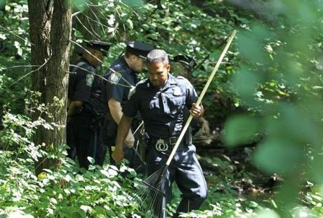 Police searched Stony Brook Reservation in Hyde Park after the body of Amy E. Lord of South Boston was found.