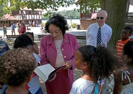 School Superintendent Carol R. Johnson talked with students at the Jamaica Plain boathouse Wednesday and introduced her interim successor, John McDonough.