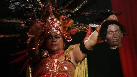 "Herman Koto, a gangster frequently seen in drag, in ""The Act of Killing."""