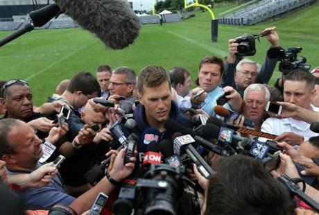 New England Patriots quarterback Tom Brady and team captains met the media.
