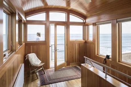 A 70-square-foot tower room resembles a ship captain's quarters.