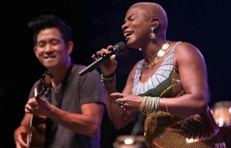 Kidjo, from Benin, was one of 16 acts at the festival, which will be capped off Sunday by a performance from bluegrass-country artist Alison Krauss.