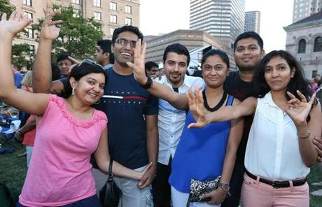 This group also enjoyed the concert. From left, Kinjal Murthy and Mahesh Murthy of Cambridge, Amit Bhutta of Arlington, Ashwita Shah of Waltham, Roy Goyal of Somerville, and Neha Verma.