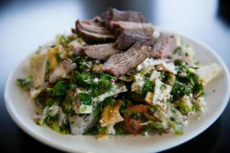 Fattouch salad with grilled lamb at Cafe Barada in North Cambridge.