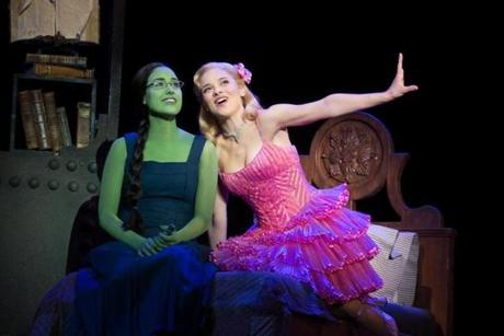 "Alison Luff  (left) as Elphaba and Jenn Gambatese as Glinda in ""Wicked,"" at the Boston Opera House."