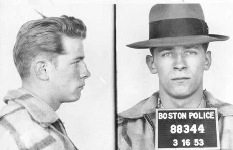 A 1953 Boston Police booking photo of James