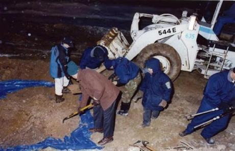 The remains of alleged Bulger victims Arthur Barrett, Deborah Hussey, and John McIntyre were found  in a shallow grave in January 2000 in land across from Florian Hall in Dorchester.