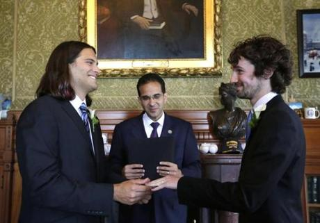 Zachary Marcus (left) and Gary McDowell were wed in Providence, R.I., where Mayor Angel Taveras officiated.