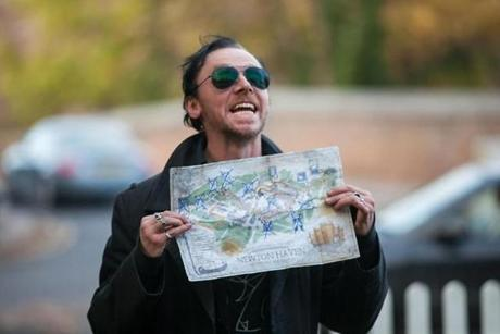Pegg with a map of the deadly pub crawl.