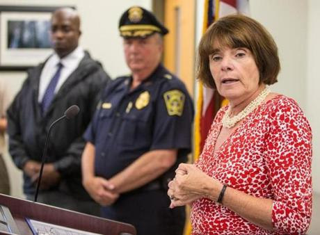 Middlesex District Attorney Marian Ryan (right) discussed the arrest of William Camuti, 69, of Sudbury, on Friday.