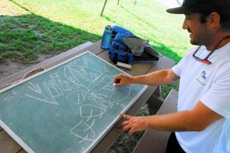 INstructor Brian Kelley uses a chalkboard to teach terms and maneuvers before a lesson
