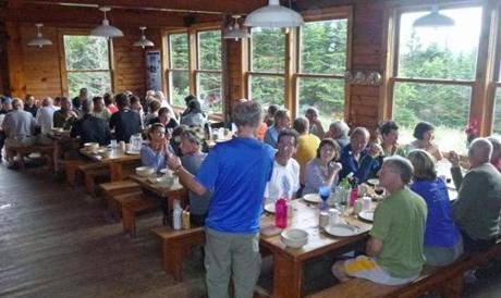 As many as 60 guests can be seated in the Mitzpah Springs hut dining room.