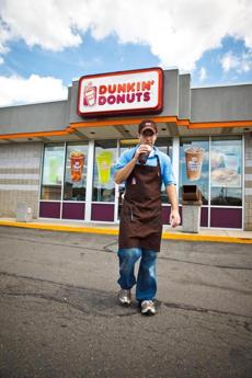 Brandon and Myke got jobs at Dunkin' Donuts because they figured it was a good way to get to know the locals.