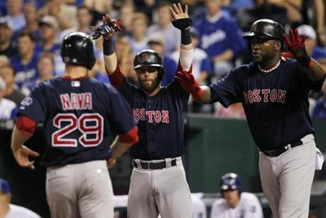 Daniel Nava, Dustin Pedroia, and David Ortiz scored on Mike Napoli's double in the fourth.
