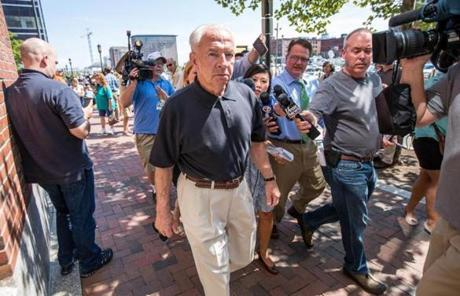 08/12/2013 BOSTON, MA Jack Bulger (cq) walked past the media outside the John Joseph Moakley United States Courthouse (cq) where the verdict was read in the case against James