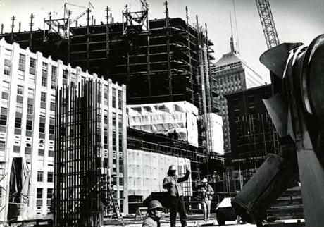 March 9, 1971: The old John Hancock building (background) still dominates the Boston skyline, but the Hancock Tower is gaining.