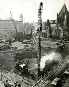 October 20, 1968: The first of an estimated 3,000 piles to support the foundation of Boston's tallest building were driven this day in the Back Bay. Pile driving for the 6-story John Hancock Mutual Life Insurance Company home office was expected to take nine months.
