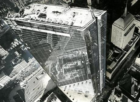 November 21, 1972:  An aerial view of both the old and new John Hancock buildings. .