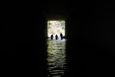 Pete Moulton, Brian Windmiller and Dave Winchester  crossed under an underpass of Route 3 in search of shiner fish.