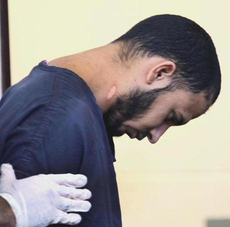 Edwin Alemany was arraigned in the murder of Amy Lord at West Roxbury District Court on Thursday. His lawyer said he tried to commit suicide scratching open the arteries on his neck and arms.