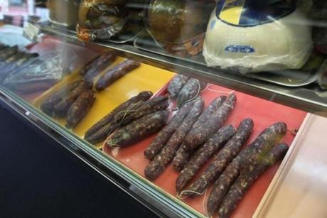 Sausages on display at Salem Food Store.