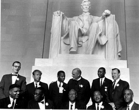 Civil Rights leaders at the Lincoln Memorial during the March on Washington. A Phillip Randolph is in the center of the bottom row.