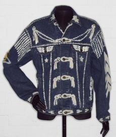 London 1980s fashions: Vivienne Westwood's customized Levi Strauss jacket.