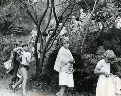 July 8, 1977:  The American Red Cross Learn-to-Swim class marched to the beach at Walden Pond.
