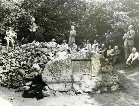 July 4, 1945:  More than 100 followers of the famous naturalist-philosopher Henry David Thoreau gathered beside a rock-strewn cairn and plaque on the shores of Walden Pond where Thoreau built his tiny one-room cabin. They both marked the location of the hut in which Thoreau began his historic experiment in living in 1845.