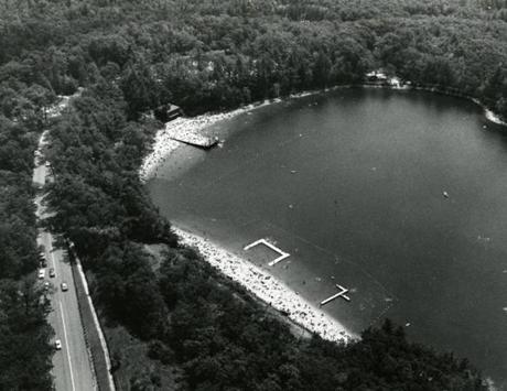 August 2 ,1981:  An aerial view of Walden Pond that is the centerpiece of the approximately 425-acre Walden State reservation administered by the Commonwealth of Massachusetts. Walden Pond has been designated a National Historic Landmark.