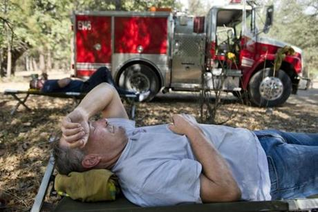 Sacramento River Fire District Captain Jerry Winters, 61, rested at base camp.