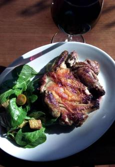 Chicken under a brick from Caffe Umbra, 2002.